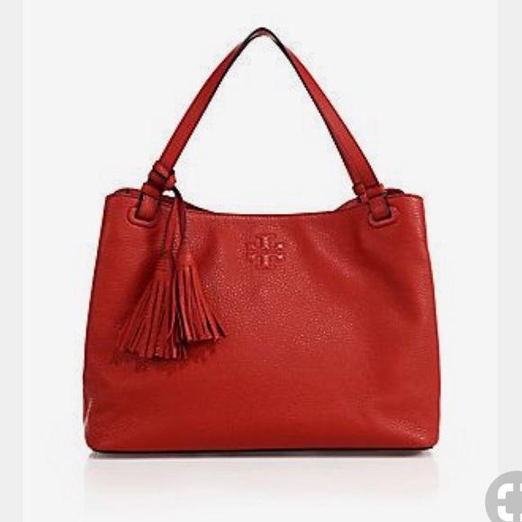 2627a6f98cd Tory Burch Thea Center-Zip Tote Tassel Leather Bag.  M_5b1c11098ad2f9def40c02fa